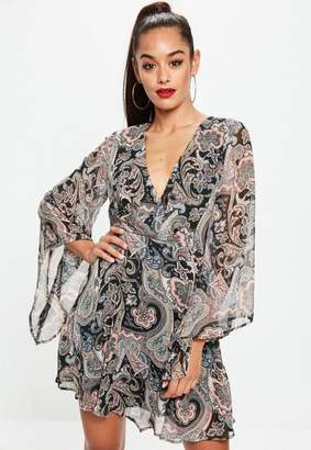 Missguided Black Paisley Print Flare Sleeve Skater Dress