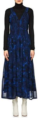 Proenza Schouler Women's Peony-Print Silk Midi-Dress - Blue, Black
