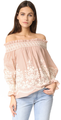 ENGLISH FACTORY Embroidered Off Shoulder Top $90 thestylecure.com