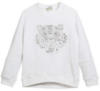 Kenzo Drop-Shoulder Sweatshirt w/ Metallic Tiger Face, White, Size 8-12