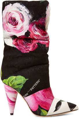 Jimmy Choo X Off White Floral Sara Quilted Short Boots