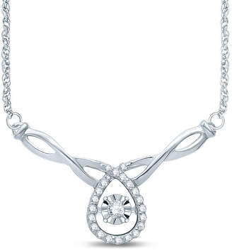FINE JEWELRY Love in Motion 1/7 CT. T.W. Diamond Sterling Silver Necklace