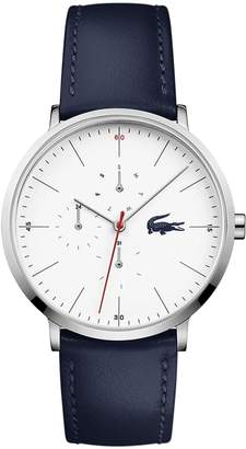 Lacoste Men's Moon Multifunctions Ultra Slim Watch with Blue Leather Strap