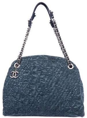 Chanel Denim Camellia Large Just Mademoiselle Bowler Bag