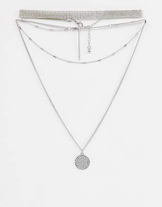 Missguided rhinestone layered choker necklace in silver