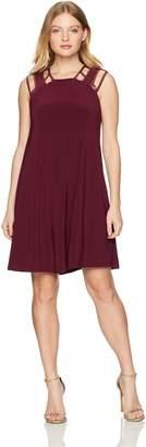 Love Scarlett Women's Petite Embellised Shoulder Flare Dress