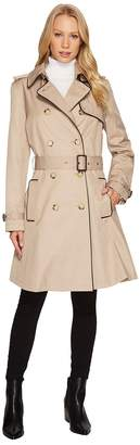 Lauren Ralph Lauren Double Breast Faux Leather Trim Trench Women's Coat