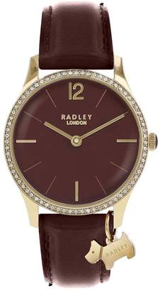 Radley Port Jewelled Dial with Gold Dog Charm and Port Leather Strap Ladies Watch