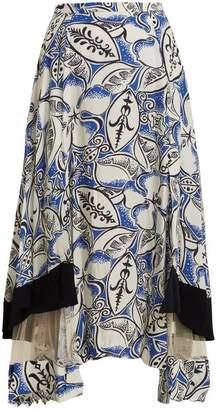Toga Abstract floral-print panelled midi skirt