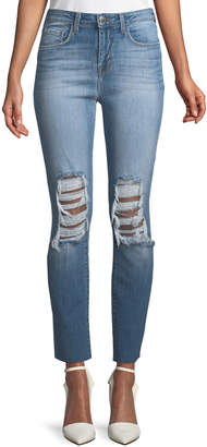 L'Agence Luna Shred-Knee High-Rise Straight-Leg Jeans