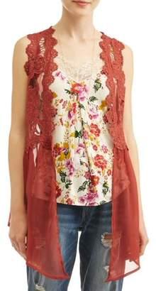 Self Esteem Juniors' Lace Vest, Printed Cami, & Necklace 3Fer