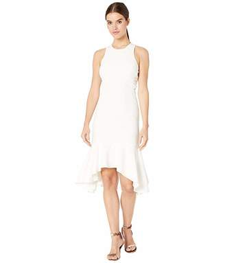Halston Sleeveless Flounce Hem Dress with Twist Detail