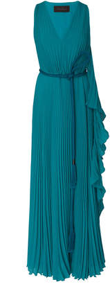 Max Mara Pleated Organza Maxi Dress