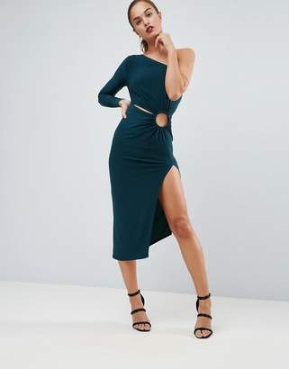 Asos Design One Shoulder Ring Detail Midi Bodycon Dress