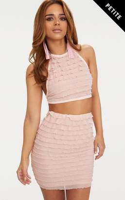 PrettyLittleThing Petite Blush Ruffle Bodycon Skirt