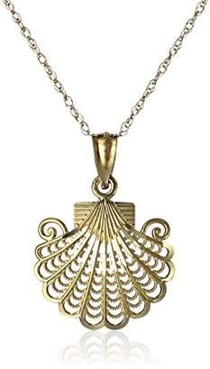 14k Yellow Filigree Sea Shell Pendant Necklace