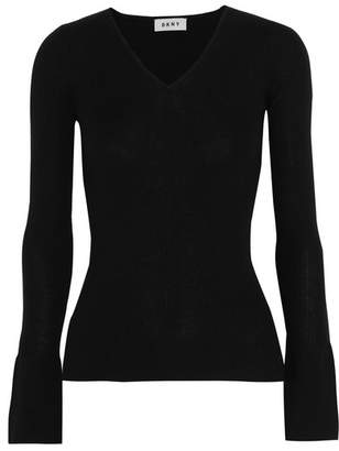 DKNY - Ribbed Silk, Wool And Cashmere-blend Sweater - Black $180 thestylecure.com