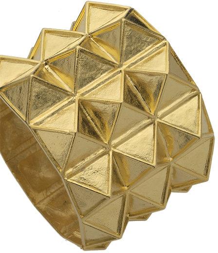 Kenneth Jay Lane Gold Triple Pyramid Cuff