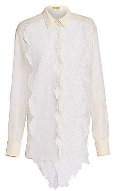 Escada Women's Sheer Silk Lace Blouse