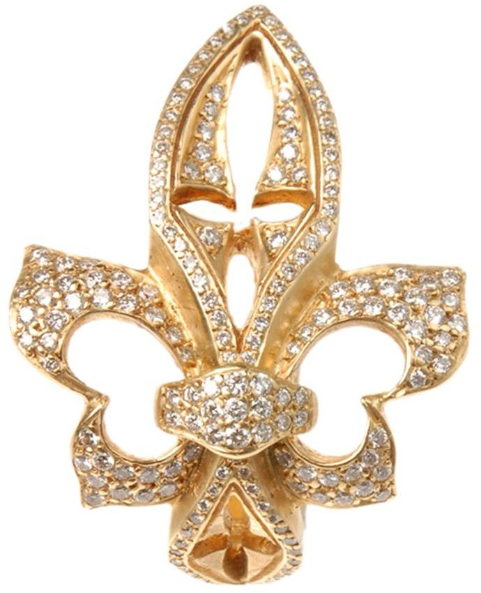 Loree Rodkin yellow gold sideways diamond fleur-de-lis ring