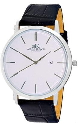 Adee Kaye Men's Quartz Stainless Steel and Leather Casual Watch