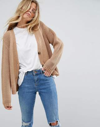 Asos Ultimate Chunky Knit Cardigan With Button
