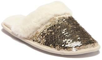 Jessica Simpson Reversible Sequin Faux Fur Lined Slipper