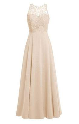 Oumans Women's Crew Neck Lace Bridesmaid Dresses Long Chiffon Prom Gown us
