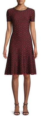 St. John Floral Blister Jacquard Knit Fit-and-Flare Dress