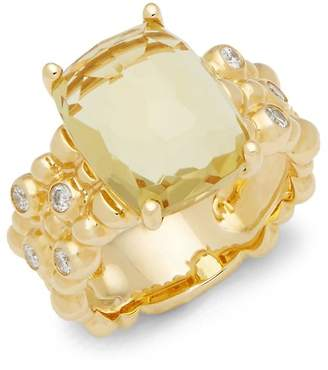 Michael Aram Women's Molton Yellow Beryl, Diamond & 18K Yellow Gold Triple Row Ring