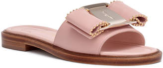 Salvatore Ferragamo Isera pink leather studded bow slide sandals