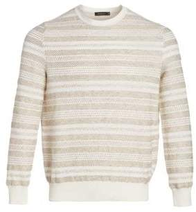 Ermenegildo Zegna Men's Stripe Cotton& Linen Sweater - Beige White - Size 50 (40)