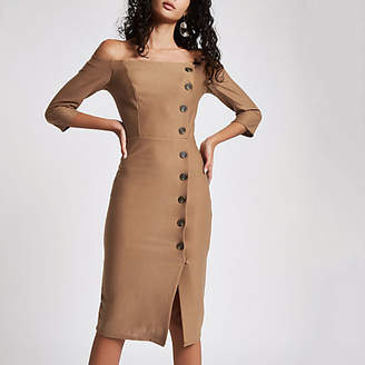 River Island Beige bardot button front bodycon midi dress
