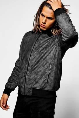 boohoo Faux Fur Collar Suedette Jacket