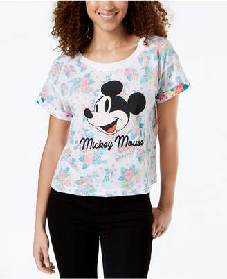 Hybrid Love Tribe Juniors' Tropical Mickey Mouse Graphic-Print T-Shirt