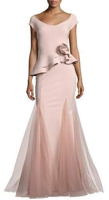 Chiara Boni Lady Cap-Sleeve Peplum Mermaid Gown, Pink