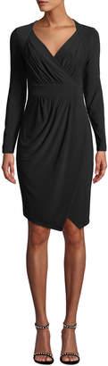 Donna Karan Pleated Surplice-Neck Faux-Wrap Dress
