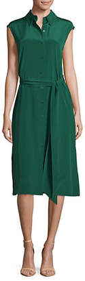 Diane von Furstenberg Sleeveless Belted Silk Shirt Dress