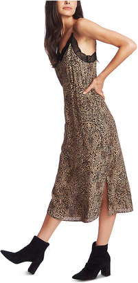 1 STATE 1.state Animal Print Lace-Trimmed Slip Dress