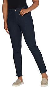 Denim & Co. D&Co. Perfect Denim Slim Straight Ankle Jeans wRib Waistband
