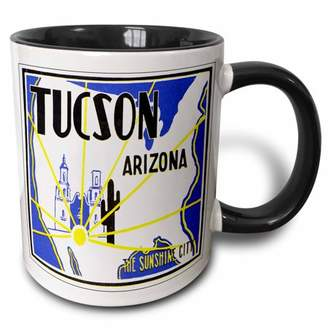 3dRose Tucson Arizona The Sunshine City Vintage Luggage Label - Two Tone Black Mug, 11-ounce