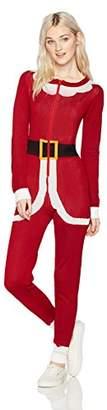 Love by Design Junior's Crew Neck Christmas Santa Zip-Up Onesie