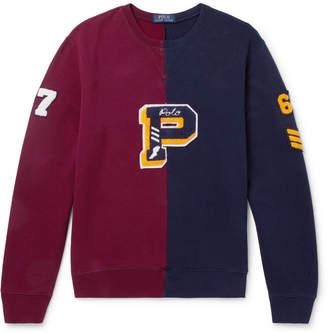 Polo Ralph Lauren Colour-Block Appliquéd Loopback Cotton-Blend Jersey Sweatshirt