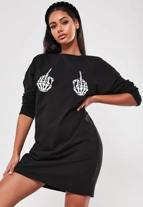 Missguided Black Skeleton Hands Print Oversized T Shirt Dress