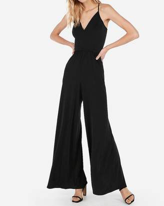 dd94626c9a6 Express Satin Wide Leg Cross Back Jumpsuit