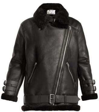 Acne Studios Velocite Oversized Shearling Jacket - Womens - Black