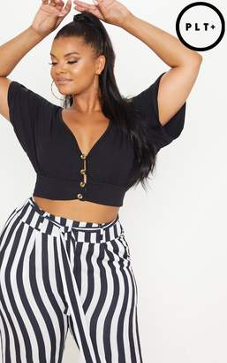 PrettyLittleThing Plus Black Button Detail Crop Top