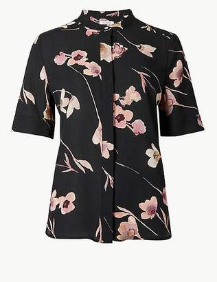 Marks and Spencer Floral Print Round Neck Short Sleeve Blouse