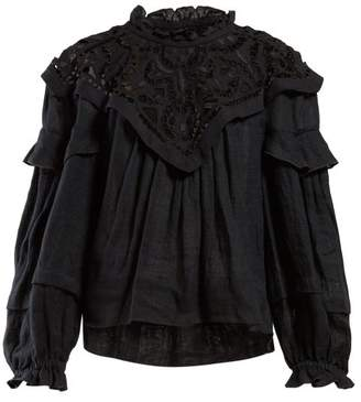 Isabel Marant Geoffrey Ruffle Neck Macrame Lace Blouse - Womens - Black