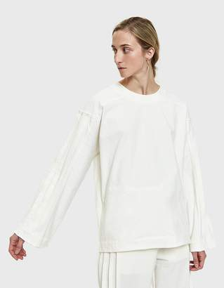Dima Leu Pleated Stripe T-Shirt in White